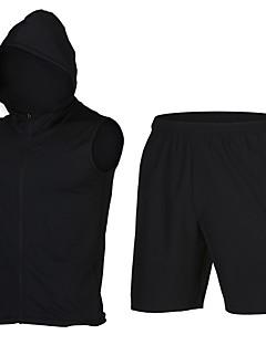billige Løbetøj-Herre T-shirt og shorts til løb og jogging Sport Shorts - Uden ærmer Hurtig Tørre Elastisk Sort