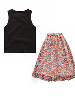 billige Tøjsæt til piger-Pige Daglig Ensfarvet Blomstret Tøjsæt, Bomuld Polyester Sommer Uden ærmer Basale Boheme Sort