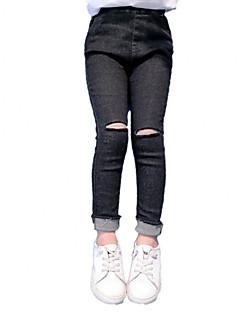 tanie Odzież dla dziewczynek-Jeansy Bawełna Poliester Dla dziewczynek Codzienny Jendolity kolor Wiosna Jesień Bez rękawów Vintage Na co dzień Black