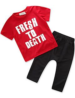 billige Tøjsæt til drenge-Drenge Daglig Sport Trykt mønster Tøjsæt, Bomuld Polyester Sommer Kortærmet Simple Afslappet Rød