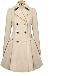 levne Dámské kabáty a trenčkoty-Dámské Jednobarevné Trenčkot Košilový límec