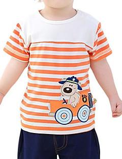 billige Overdele til drenge-Drenge Daglig Stribet T-shirt, Polyester Forår Sommer Kortærmet Gade Blå Orange