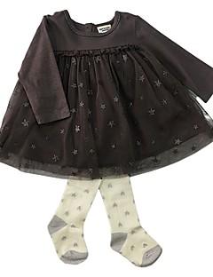 billige Sett med babyklær-Baby Pige Tøjsæt Daglig Stribet, Bomuld Forår Efterår Langærmet Simple Kineseri Kamel