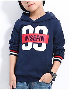 billige Hættetrøjer og sweatshirts til drenge-Drenge Hættetrøje og sweatshirt Daglig Geometrisk, Polyester Forår Langærmet Aktiv Navyblå