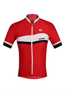 billige Sykkelklær-SANTIC Herre Kortermet Sykkeljersey - Rød / Blå Sykkel Jersey Spandex