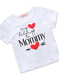 billige Pigetoppe-Pige T-shirt Daglig I-byen-tøj Trykt mønster, Bomuld Polyester Sommer Kortærmet Simple Afslappet Hvid