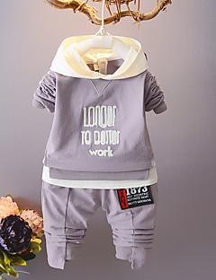 billige Tøjsæt til drenge-Unisex Tøjsæt Fest Daglig Ensfarvet Trykt mønster Jacquard Vævning, Bomuld Forår Efterår Langærmet Afslappet Lyserød Grå Lyseblå