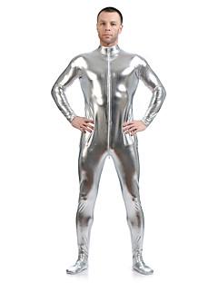 billige Zentai-Zentai Drakter Ninja Zentai Cosplay-kostymer Sølv Ensfarget Zentai Spandex Lim Herre Dame Halloween Maskerade