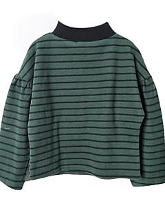 billige Pigetoppe-Pige T-shirt Daglig Stribet, Polyester Forår Langærmet Simple Army Grøn