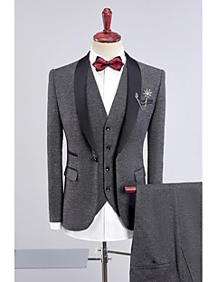 cheap Suits-Black Dark Blue Gray Purple Blue Solid Standard Fit Polyester POLY Suit - Shawl Collar Single Breasted One-button