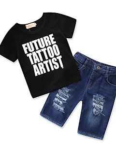 billige Tøjsæt til drenge-Drenge Tøjsæt Daglig I-byen-tøj Trykt mønster, Bomuld Polyester Sommer Kortærmet Simple Afslappet Sort