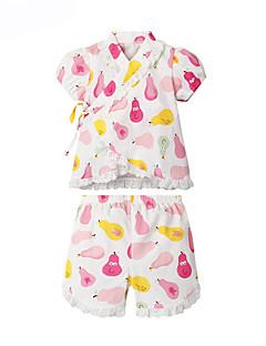 billige Sett med babyklær-Baby Pige Tøjsæt Daglig Trykt mønster, Bomuld Forår Sommer Kortærmet Aktiv Lyserød