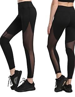 זול -בגדי ריקוד נשים רשת מכנסי יוגה - שחור, כחול כהה, אפור ספורט חלול רשת טייץ רכיבה על אופניים / חותלות כושר גופני, ריצה, חדר כושר לבוש אקטיבי