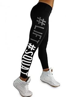 זול -בגדי ריקוד נשים מכנסי יוגה - שחור, פוקסיה ספורט גיאומטרי טייץ רכיבה על אופניים כושר גופני לבוש אקטיבי מאמן, יוגה, ייבוש מהיר סטרצ'י (נמתח)