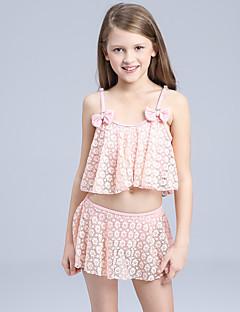 billige Badetøj til piger-Pige Sødt Aktiv Ensfarvet Badetøj, Nylon Uden ærmer Lyserød Gul