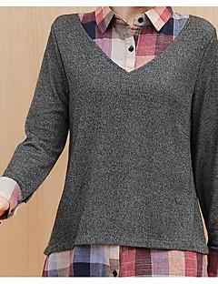 baratos Suéteres de Mulher-Mulheres Manga Longa Algodão Carregam - Sólido Algodão / Colarinho de Camisa / Primavera