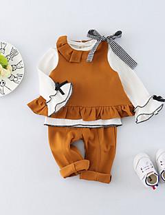 billige Sett med babyklær-Baby Pige Tøjsæt Daglig Ensfarvet, Bomuld Forår Sommer Langærmet Simple Lyserød Lysebrun