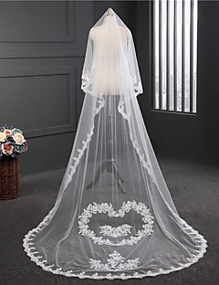 cheap Wedding Veils-One-tier Round Lace Wedding Veil Chapel Veils 53 Embroidery Tulle