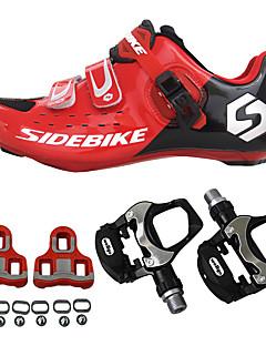 billiga Cykling-SIDEBIKE Cykelskor med pedaler och klossar / Skor för vägcykel Kolfiber Anti-Skakning, Stötdämpande, Ultra Lätt (UL) Cykelsport Röd / Svart Herr / Nylon / Snabb tork / Andningsfunktion
