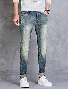 billige Herrebukser og -shorts-menns normale midtvekst>75% jeans bukser, vintage solid bomull sengetøy bambus fiber akryl vår