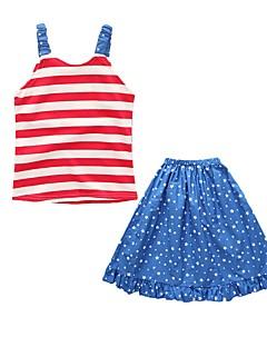 billige Tøjsæt til piger-Pige I-byen-tøj Ferie Ensfarvet Stribet Galakse Tøjsæt, Bomuld Akryl Forår Sommer Uden ærmer Sødt Aktiv Lyseblå