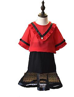 billige Tøjsæt til piger-Pige Tøjsæt Daglig I-byen-tøj Ensfarvet Prikker Stribet, Bomuld Polyester Sommer Kortærmet Simple Aktiv Rød Gul