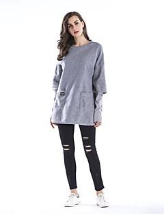 tanie Damskie bluzy z kapturem-Damskie Rozmiar plus Bawełna Długi rękaw Bluzy - Jendolity kolor