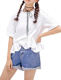 billige T-shirt-Dame - Ensfarvet, Basale T-shirt