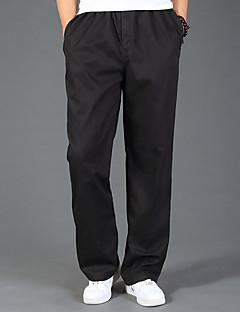 billige Herrebukser og -shorts-Herre Bomull Løstsittende Chinos Bukser Ensfarget