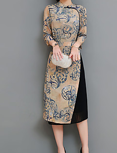 お買い得  レディースドレス-女性用 アジアン・エスニック シース ドレス ソリッド 膝上