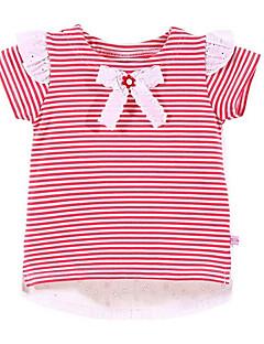 billige Pigetoppe-Pige Daglig Stribet T-shirt, Polyester Forår Sommer Kortærmet Gade Rød Lyserød
