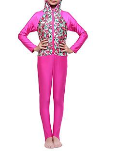 billige Badetøj til piger-Pige Boheme Blomstret Farveblok Badetøj, Polyester Nylon Spandex Rosa Lyseblå