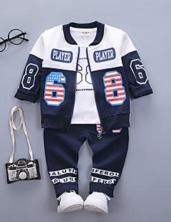 billige Tøjsæt til drenge-Drenge Tøjsæt Daglig I-byen-tøj Ensfarvet Trykt mønster Patchwork, Bomuld Forår Efterår Langærmet Vintage Rød Navyblå Grå Lysegrøn