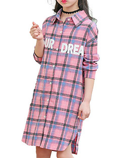 cheap Girls' Clothing-Girls' Daily Solid Colored Print Plaid Shirt, Cotton Polyester Spring Fall Long Sleeves Basic Blushing Pink Yellow