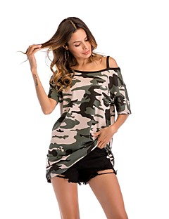 billige Overdele til damer-Skulderfri Løstsiddende Dame - camouflage, Trykt mønster T-shirt