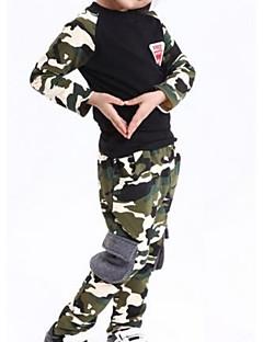 billige Tøjsæt til piger-Unisex Daglig Ensfarvet Tøjsæt, Polyester Forår Langærmet Sødt Army Grøn