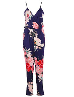 billige Jumpsuits og sparkebukser til damer-Dame Kjeledresser - Blomstret Med stropper