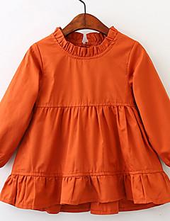 billige Pigekjoler-Pigens Kjole Daglig Ferie Ensfarvet, Bomuld Forår Sommer Langærmet Simple Vintage Orange Gul