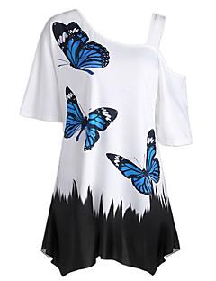 billige T-shirt-Dame - Farveblok Dyr Basale T-shirt Sommerfugl Sort og hvid