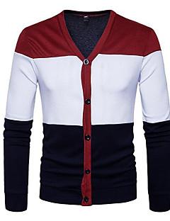 tanie Męskie swetry i swetry rozpinane-Męskie Moda miejska Rozpinany Wielokolorowa