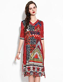 Χαμηλού Κόστους YHSP-Γυναικεία Εκλεπτυσμένο Κομψό στυλ street Γραμμή Α Θήκη Swing Φόρεμα - Φλοράλ, Σουρωτά Στάμπα Μίντι