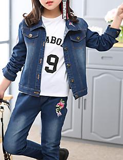 tanie Odzież dla dziewczynek-Komplet odzieży Bawełna Dla dziewczynek Codzienny Kwiaty Haft Na każdy sezon Długi rękaw Urocza Niebieski
