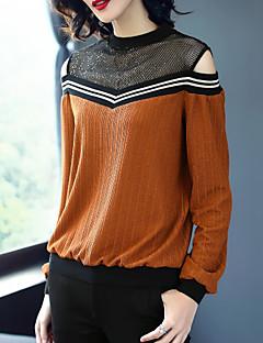 Χαμηλού Κόστους Lace up Tops-Γυναικεία T-shirt Αργίες Βίντατζ Συνδυασμός Χρωμάτων Δαντέλα