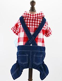 billiga Hundkläder-Hund Katt Husdjur Jumpsuits Hundkläder Pläd / Rutig Jeans Brittisk Röd Blå Bomull / Polyester Jeans Kostym För husdjur Herr Cowboy Mode