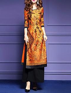 Χαμηλού Κόστους Chinoiserie Dresses-Γυναικεία Μεγάλα Μεγέθη Εξόδου Κομψό στυλ street Φαρδιά Φόρεμα - Φλοράλ Μακρύ / Άνοιξη