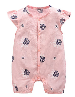 billige Babytøj-Baby Pige En del Daglig Ferie Blomstret, Bomuld Polyester Sommer Kort Ærme Basale Lyserød Lyseblå