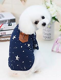 billiga Hundkläder-Hund Katt Små pälsdjur Husdjur T-shirt Hundkläder Prickig Bokstav & Nummer Stjärnor Mörkblå Grå Bomull / Polyester Kostym För husdjur Herr