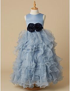 tanie Sukienki dla dziewczynek z kwiatami-Balowa Sięgająca podłoża Sukienka dla dziewczynki z kwiatami - Organza / Satyna Bez rękawów Zaokrąglony z Kokardki przez LAN TING BRIDE®