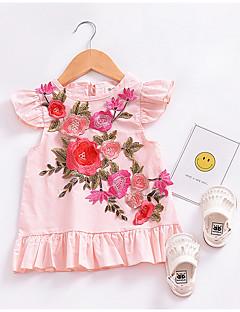 billige Babykjoler-baby pige daglige blomsterkjole, polyester sommer søde ærmerøs rødme pink 80 110 100 90