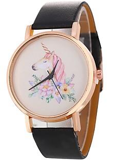billige Modeure-Dame Quartz Unik Creative Watch Modeur Afslappet Ur Kinesisk Afslappet Ur PU Bånd Afslappet Mode Sort Hvid Sølv Rød Brun Gråt Pink Lilla